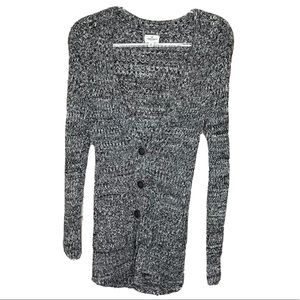 American Eagle Button Front Cardigan S Black White